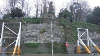 Supporting wall at Cardigan Castle