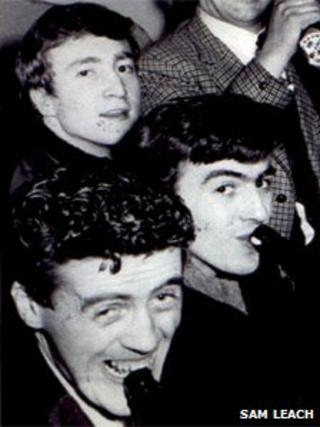 Sam Leach (bottom) with John Lennon (top) and George Harrison