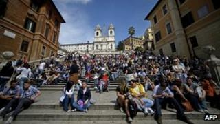 Archive photo of tourists on Rome's Spanish Steps