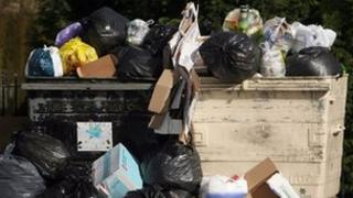 Plastic carrier bags and other rubbish overflow from a pair of wheelie bins