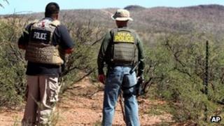 US agents at the scene of the shooting near Naco, Arizona 2 October 2012