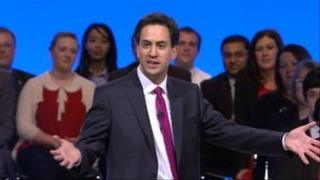 Ed Miliband making his Labour conference speech