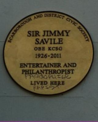 Savile plaque in Scarborough