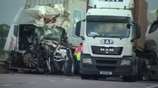A14 Crashed lorries
