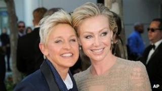 Ellen DeGeneres and Portia DiRossi