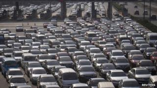 Cars jammed on the Shanghai-Beijing Expressway in Shanghai, China, 30 Sep 2012