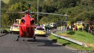 Wales Air Ambulance at the scene