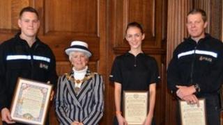 PC Jamie Illingworth, Mayor of Lancaster Sheila Denwood, PC Nikki Kay and PC John Holmes