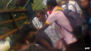Students in Mubi, Nigeria, gathering at the morgue on 2 October 2012