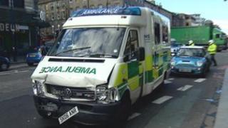 Ambulance on Lothian Road in Edinburgh