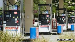 Fuel pumps stand idle at Costco Wholesale Corp Los Angeles, California on 5 October 2012