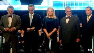 From left, Prague Mayor Bohuslav Svoboda, Czech Finance Minister Miroslav Kalousek, Dagmar Havlova, Czech Foreign Minister Karel Schwarzenberg and Czech Aeroholding general manager Miroslav Dvorak