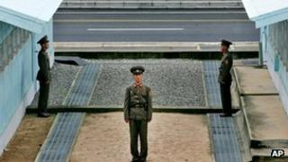 North Korean troops at demarcation line between North and South at Panmunjon - archive photo