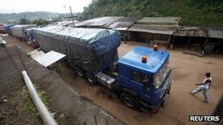 Traffic stopped at Noe, near Ivory Coast's border with Ghana. 24 Sept 2012