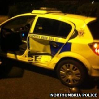 Damaged Northumbria Police car