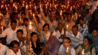 Residents of Haryana stage a protest against the incidents of rape