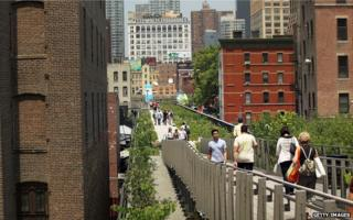 Pedestrians walking on New York's High Line