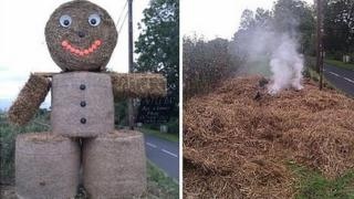20ft straw man destroyed by fire in Crewkerne