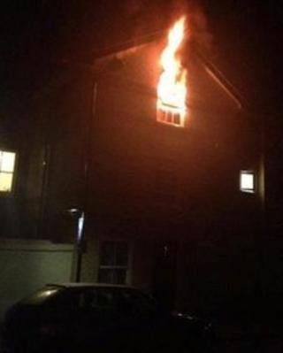 Flat on Clarkson Street, Ipswich, on fire