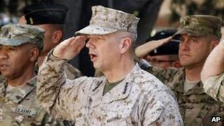 US Marine Gen John Allen (C) the top commander of US and coalition troops in Afghanistan (Sept 2012)