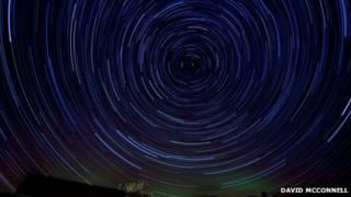 The aurora borealis crept into David McConnell's star trail project