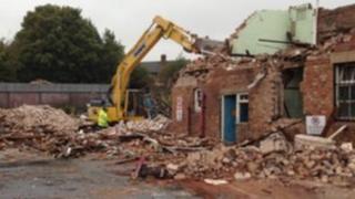 Bus depot being demolished