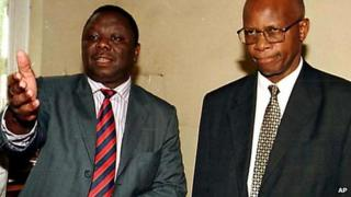 Morgan Tsvangirai (L) and Patrick Chinamasa (R) photographed in 2002