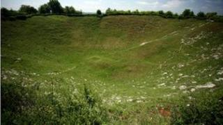 Crater at the Somme battlefield