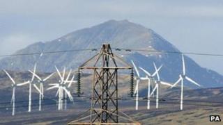 Electricity pylon and wind turbines (Image: PA)
