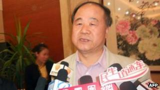 Chinese author Mo Yan accepting interviews after he won the 2012 Nobel Literature Prize on 11 October, 2012 in Gaomi, east China's Shandong province