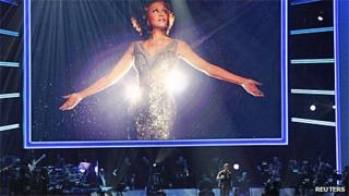 Usher performing at Whitney Houston tribute show