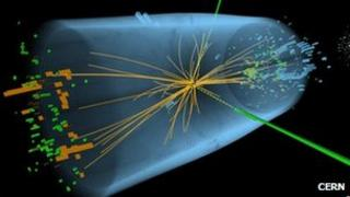 An image of data recorded at Cern during experiments is search of the Higgs boson (c) Cern