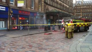 Firefighters outside Central Station in Glasgow