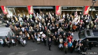Protesters rally in Cork Street, Mayfair