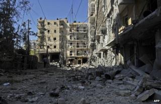 Rubble in Aleppo, 13 October