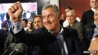 Ruling coalition leader Milo Djukanovic celebrates in Podgorica. Photo: 14 October 2012