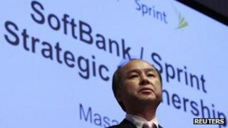 Softbank Corp President Masayoshi Son at a news conference to announce the deal