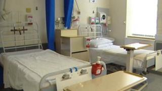 Hospital beds in ward