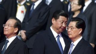 Wen Jiabao (L), Xi Jinping (C) and Hu Jintao (R) - archive image