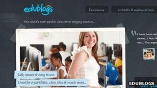 Screengrab of Edublogs homepage