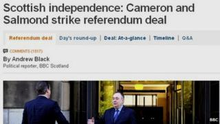 Scottish independence referendum story on BBC News website