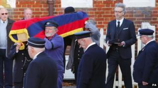 The coffin of Bernard Holden, founder of the Bluebell Railway