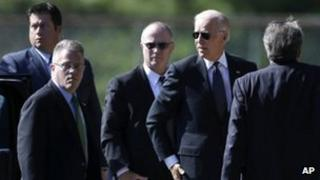 Vice-President Joe Biden (second from right) arrives at the funeral of Arlen Specter in Penn Valley, Pennsylvania 16 October 2012
