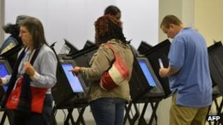 Early voting in Columbus, Ohio 15 October 2012