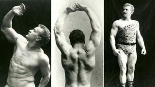 Eugen Sandow in three different poses