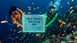 "Greenpeace divers hold banner underwater with words ""India, Protect our oceans now"" written on it"