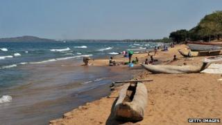 People on the beach at Lake Malawi (17 July 2011)