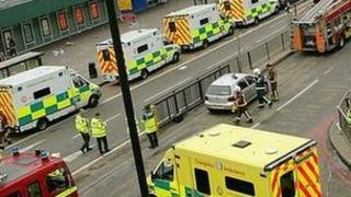 Emergency services outside King's Cross station