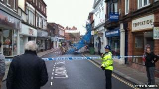 Bell Street with collapsed scaffolding