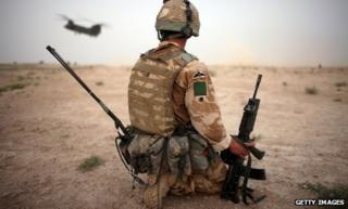 British soldier and chinook in Afghanistan